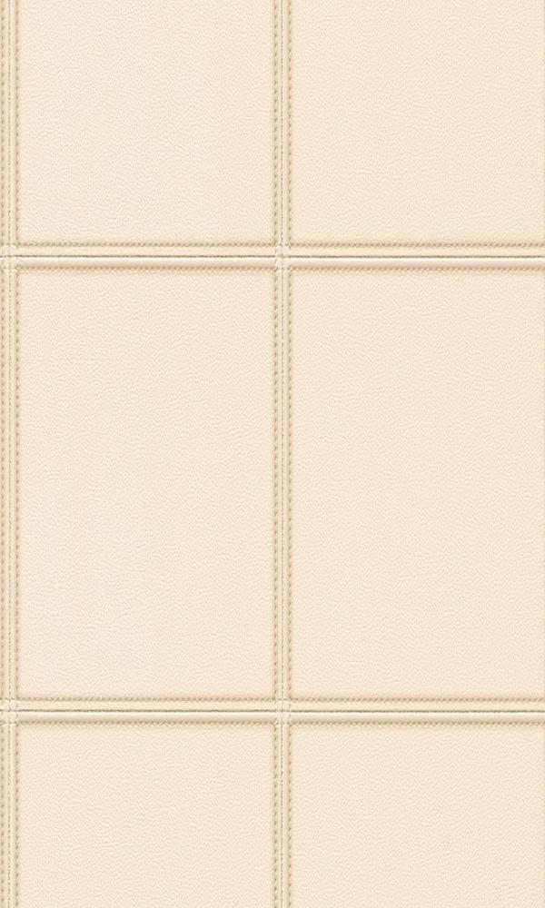 Contemporary Faux Leather Cream Stitched Panel Wallpaper R3646