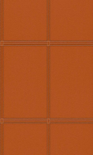 Contemporary Faux Leather Burnt Orange Stitched Panel Wallpaper R3644