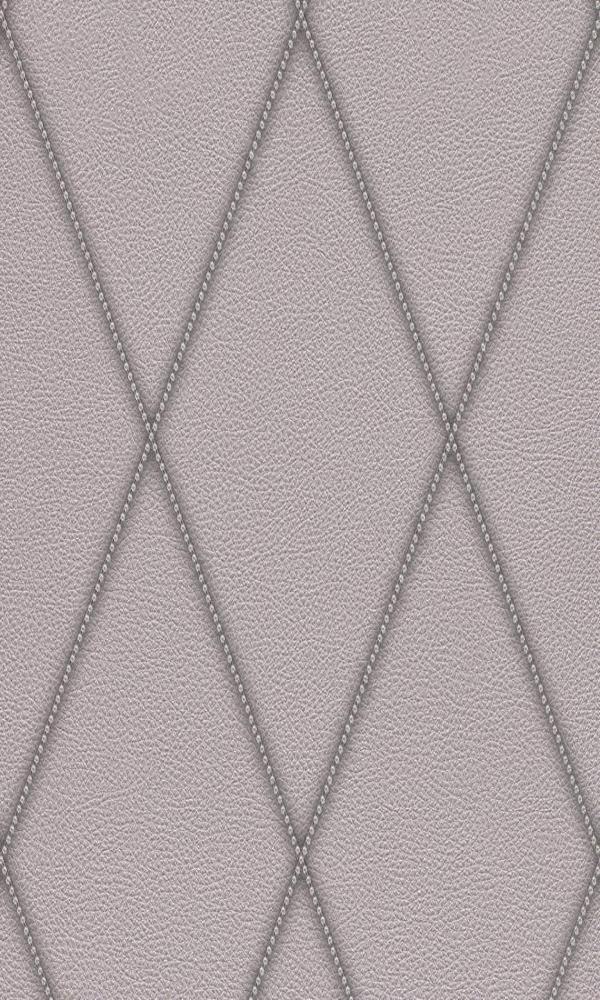 Contemporary Faux Leather Silver Jeweled Diamond Wallpaper R3689