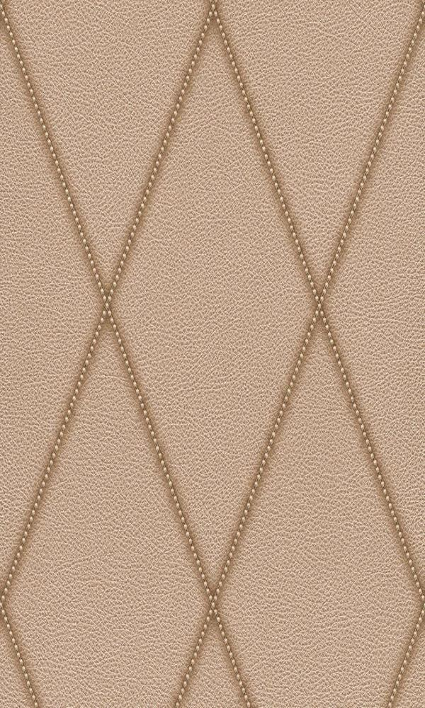 Contemporary Faux Leather Bronze Jeweled Diamond Wallpaper R3686