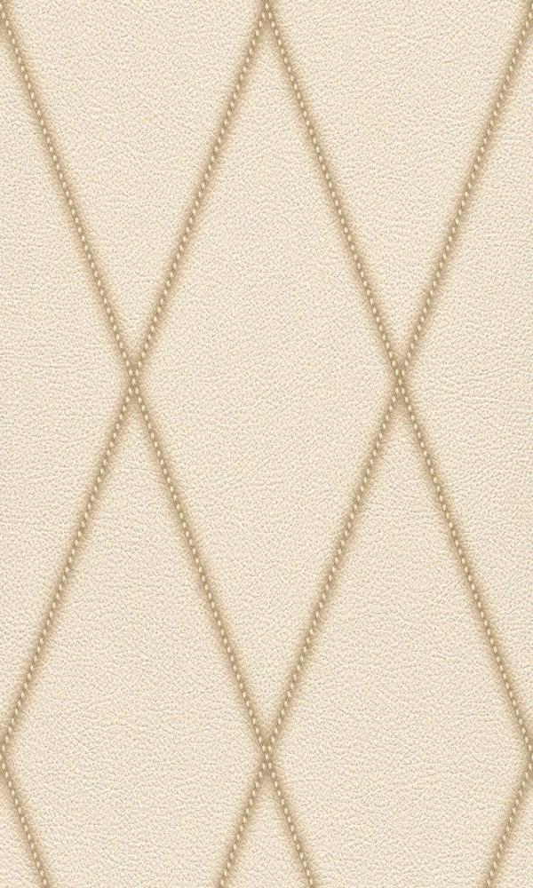 Contemporary Faux Leather Cream Jeweled Diamond Wallpaper R3687