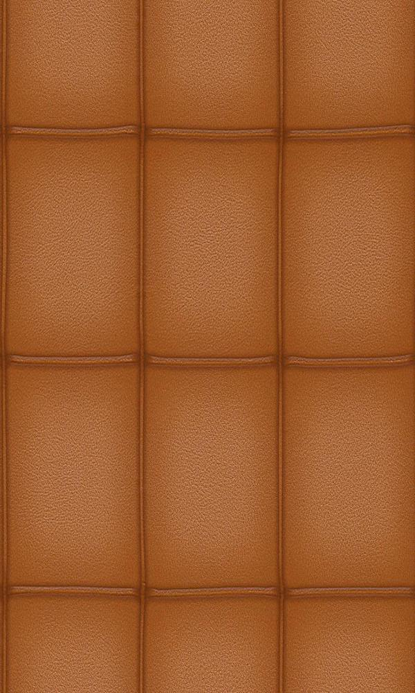 Contemporary Faux Leather Burnt Orange Embossed Panel Wallpaper R3664