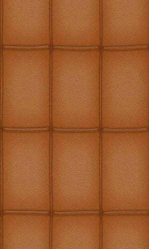 Faux Leather Brown Panel Wallpaper R3664 | Contemporary Wall Covering