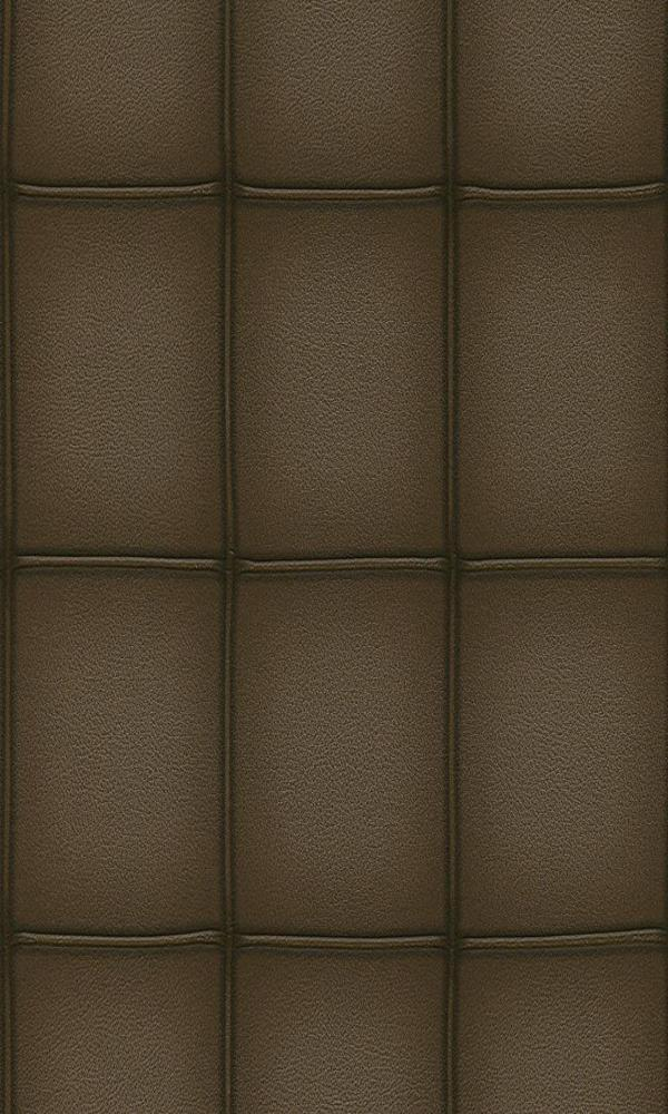 Contemporary Faux Leather Brown Embossed Panel Wallpaper R3665
