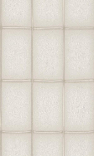 Contemporary Faux Leather White Embossed Panel Wallpaper R3666
