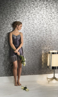 Tender Grey  Floral Wallpaper SR1774