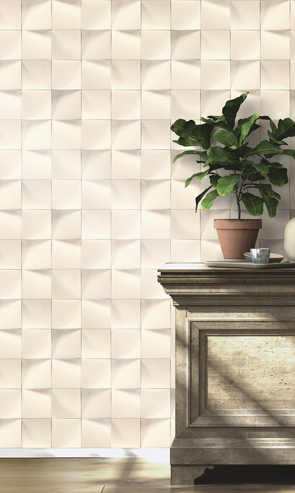 uneven faux tile wallpaper, White Uneven Faux Tiles Wallpaper R6177 | Luxury Bedroom Interior