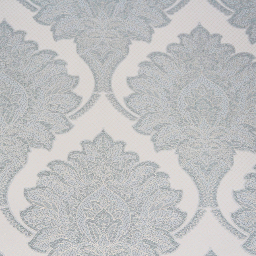 Light Blue Metallic Damask Wallpaper R3552. Damask wallpaper. Feature wallpaper. Traditional wallpaper. Blue wallpaper.