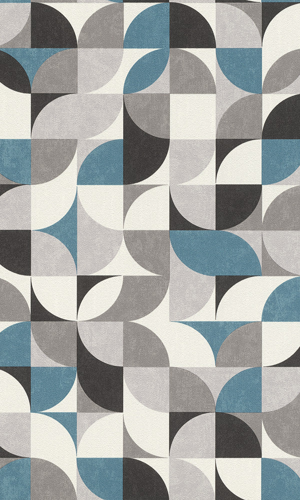 retro geometric wallpaper, Grey and Blue Funky Wallpaper R6194 | Geometric Home Wallcovering