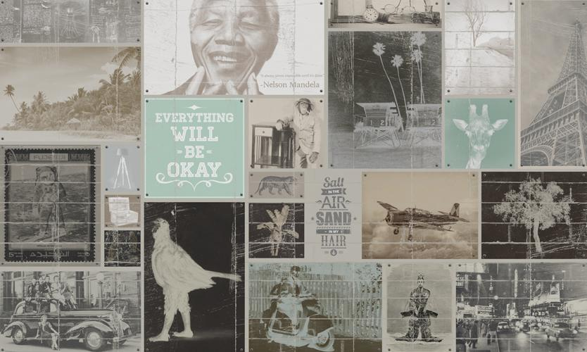 Everything Will Be OK Collage Mural Wallpaper M9238. Digital wallcovering.