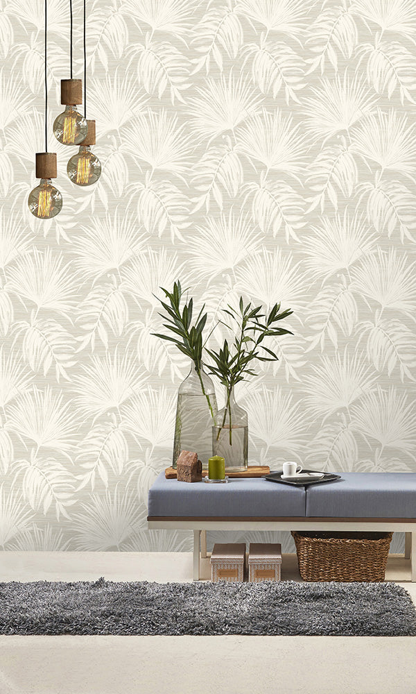 floral tropical overgrown botanicals wallpaper