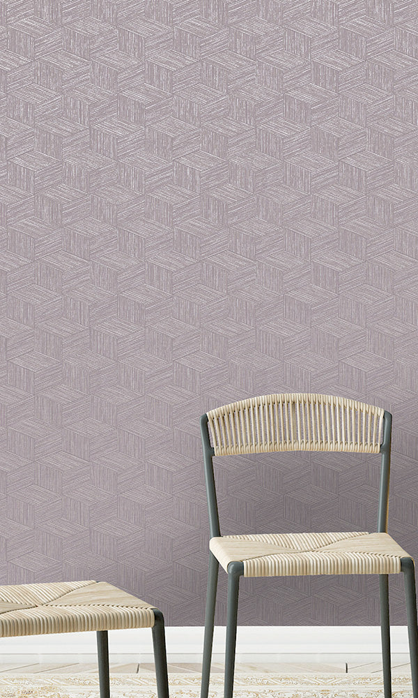 geometric 3 dimensional faux grasscloth wallpaper