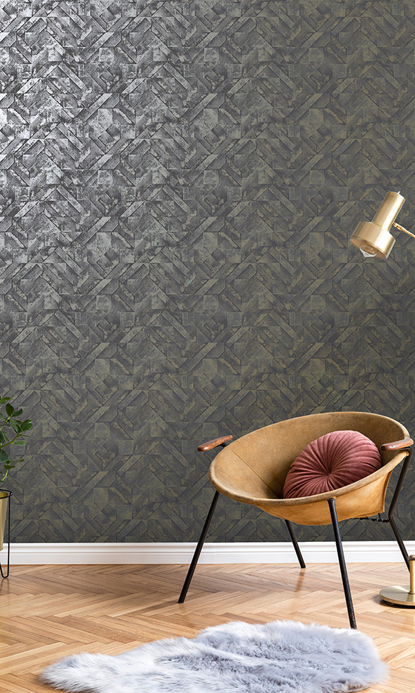 weathered geometric wallpaper