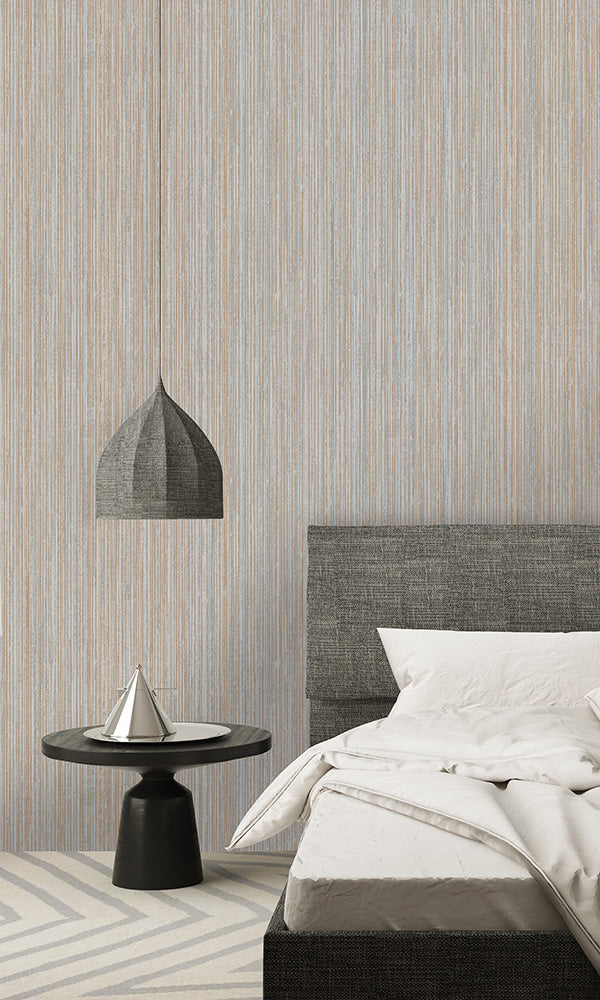 metallic textured pinstripe wallpaper