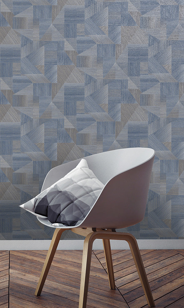 geometric fabric patchwork wallpaper