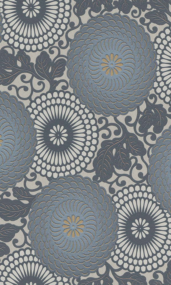 bold floral wallpaper, Blue Circle Flower Wallpaper R6207 | Geometric Home Design