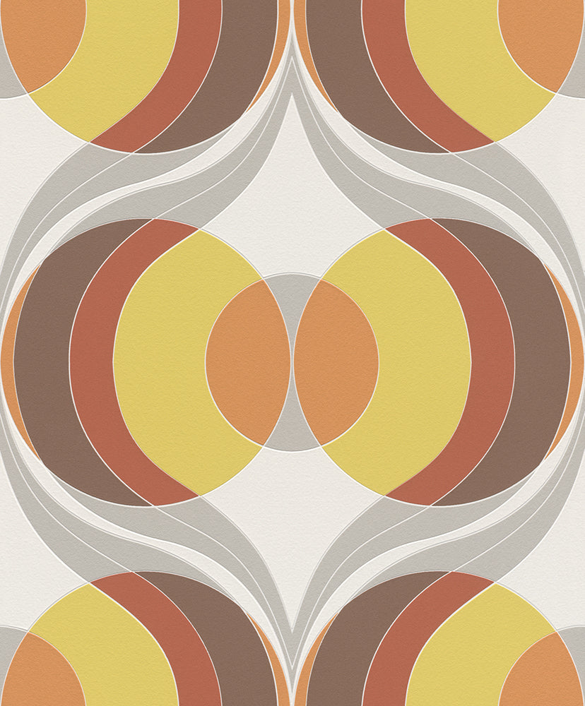 Retro Vintage Circles Wallpaper R5727  | Contemporary Home Design Idea