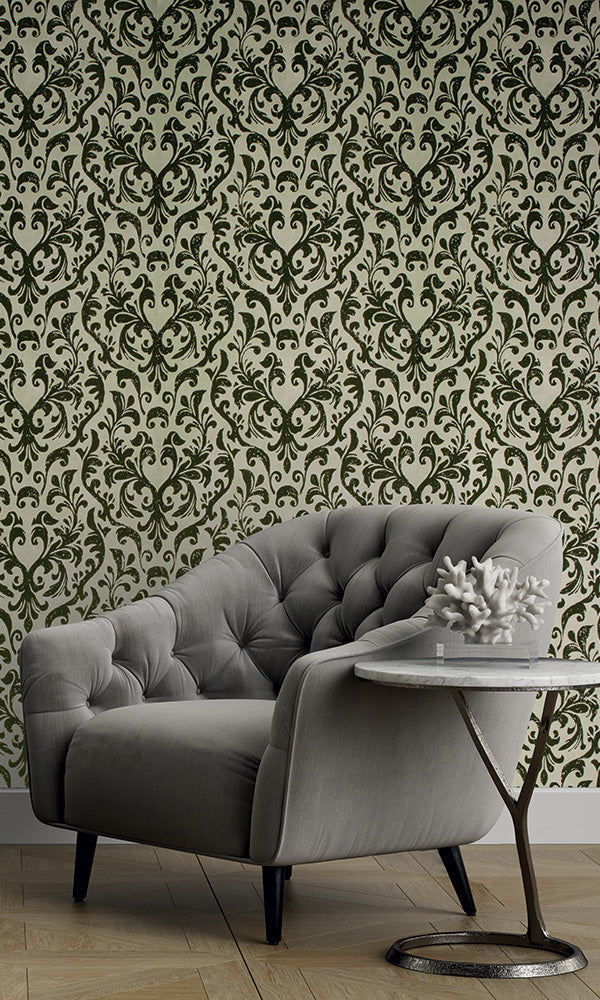 luxury flocked damask living room wallpaper