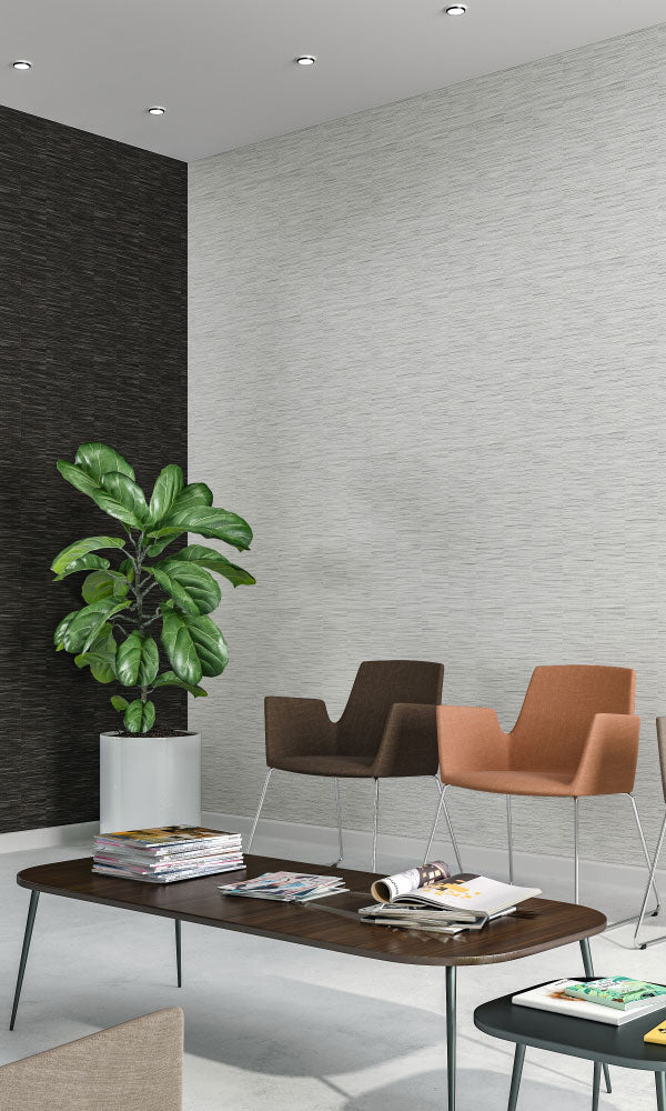 faux metallic grasscloth office lobby wallpaper