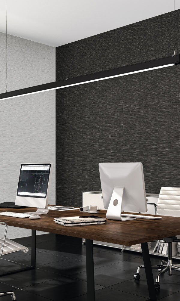 faux metallic grasscloth home office wallpaper
