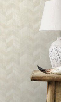weathered metallic herringbone geometric home office wallpaper