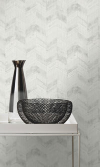 weathered metallic herringbone powder room wallpaper