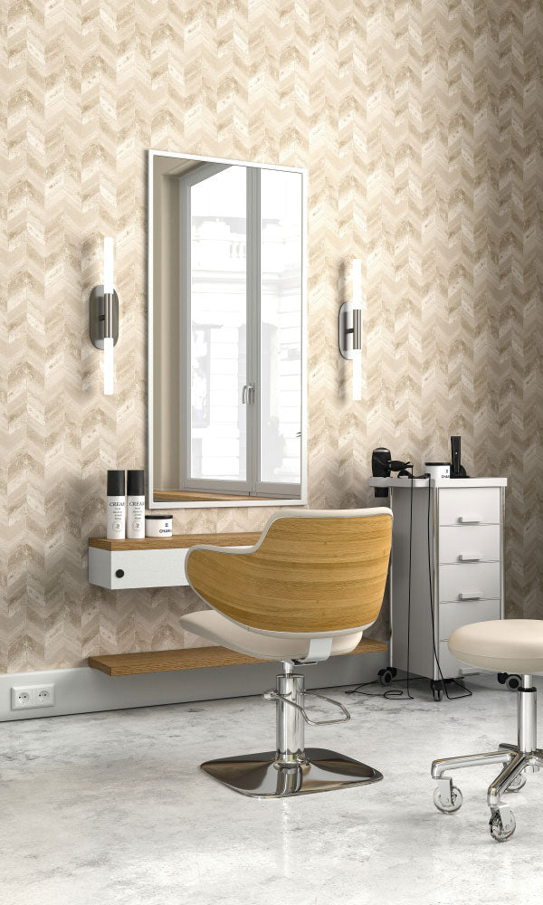 weathered metallic herringbone hair salon wallpaper