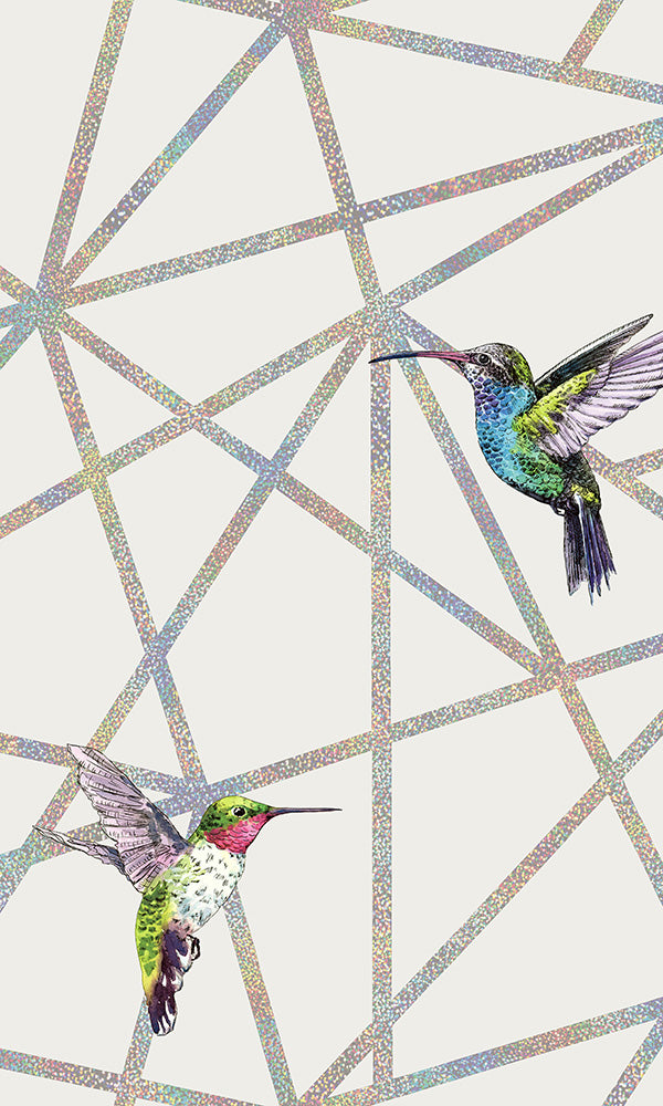 geometric holographic hummingbird wallpaper