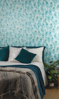 peacock feathers wallpaper, Teal Peacock Feathers Wallpaper R6096 | Luxury Home Interior