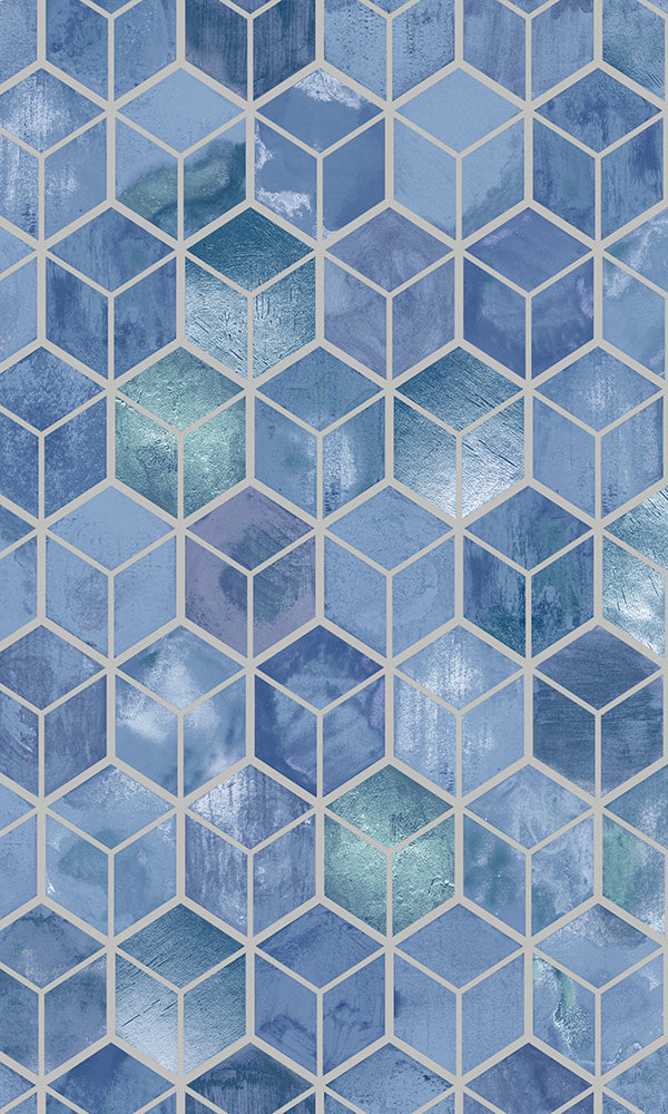 3 dimensional cubes geometric wallpaper, Navy Metallic Weathered Cubes Wallpaper R6100 | Modern Home Interior