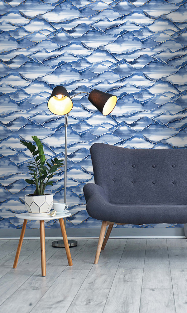 watercolor mountains wallpaper, Navy Metallic Mountains Wallpaper R6103 | Nature Inspired Home Ideas