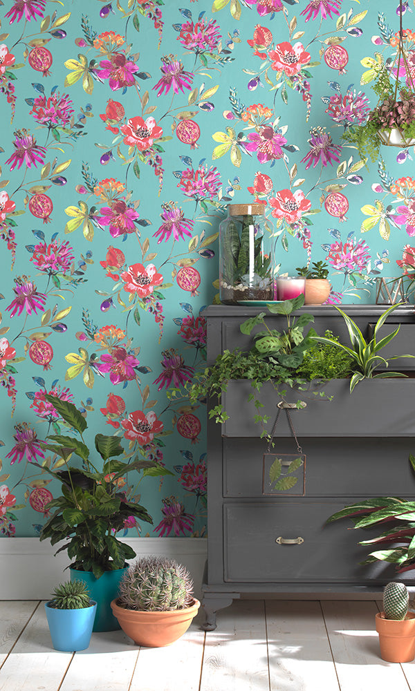 bright bold floral wallpaper
