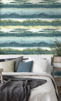 Teal Watercolor Wetlands Wallpaper R6105 .abstract watercolor wallpaper