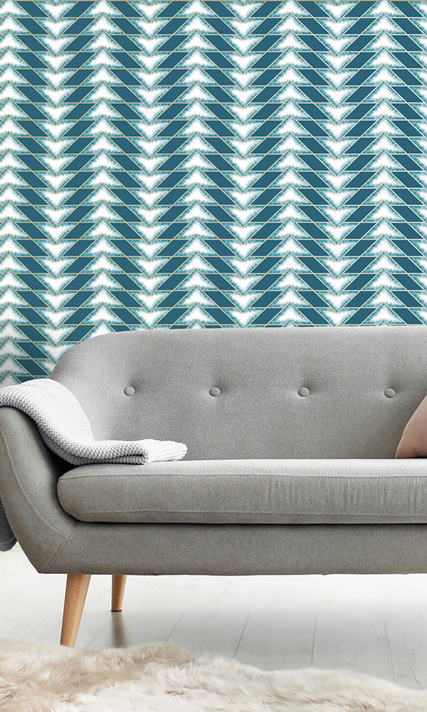 geometric wallpaper, Teal Arrow Illusion Wallpaper R6107