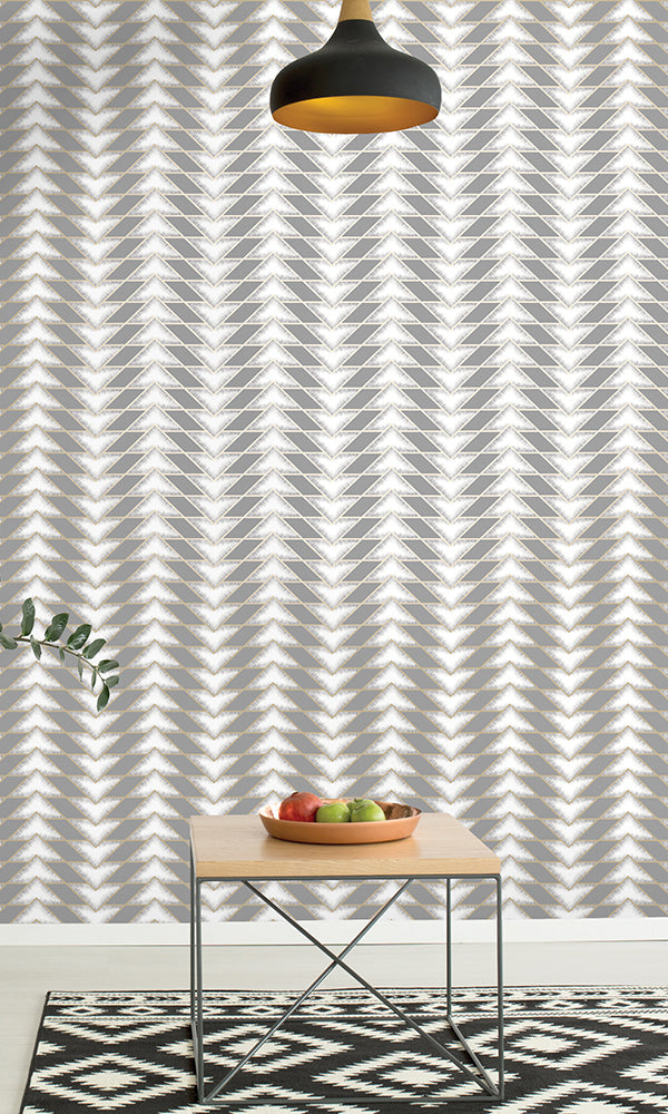 geometric wallpaper, Grey Arrow Illusion Wallpaper R6108 | Geometric Home Wall Covering