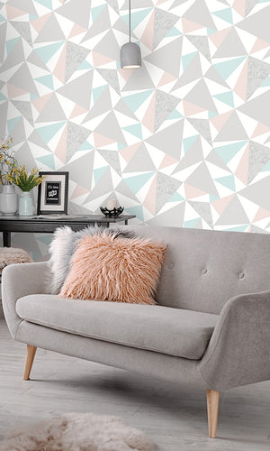 fun geometric triangles wallpaper, Pink & Soft Teal Party Triangles Wallpaper R6110 | Modern Home Ideas