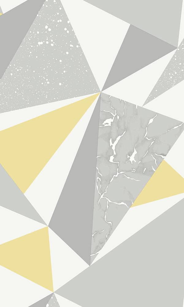 fun geometric triangles wallpaper, Grey & Yellow Party Triangle Wallpaper R6112 | Geometric Home Interior