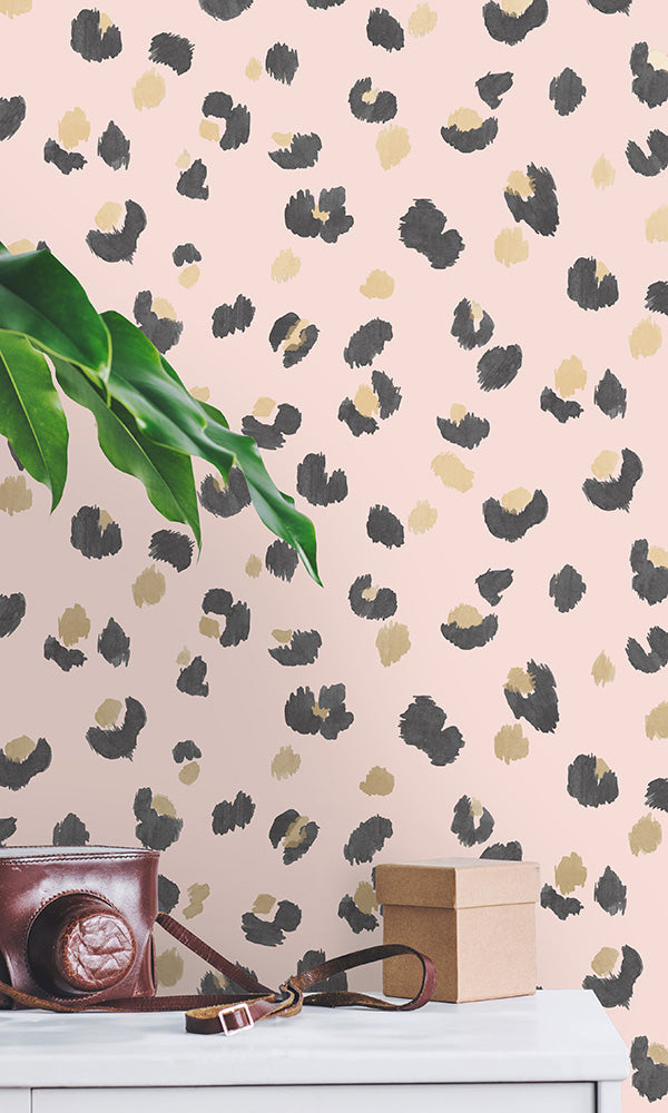 painted leopard print wallpaper