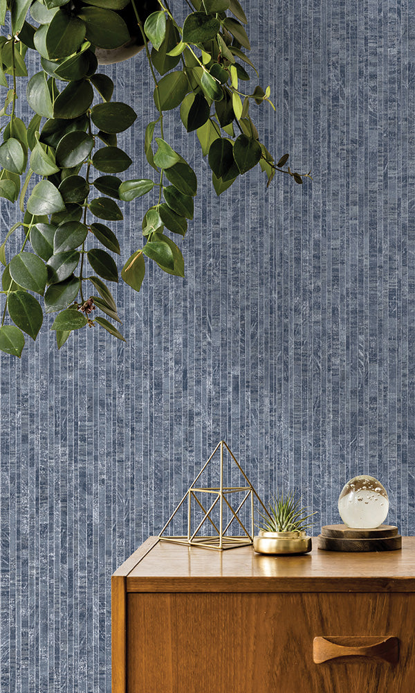 metallic faux plank striped wallpaper