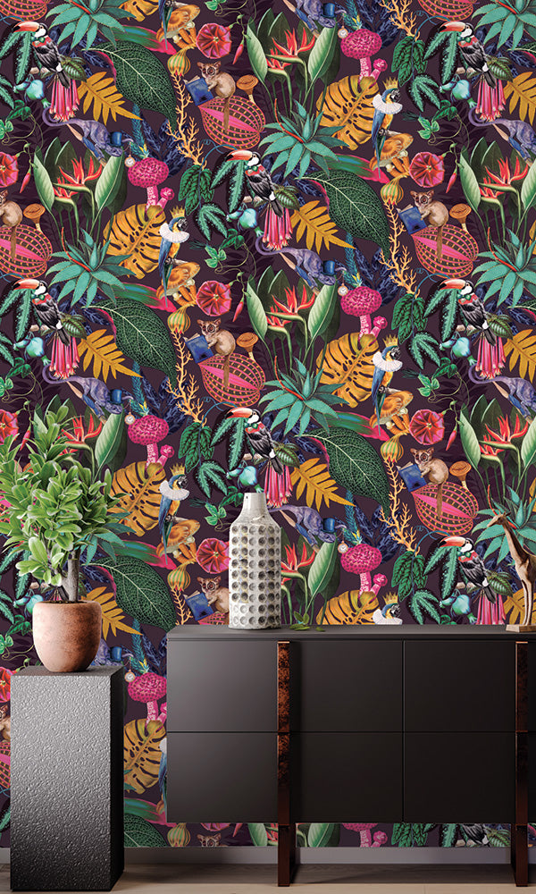 bold tropical floral wallpaper