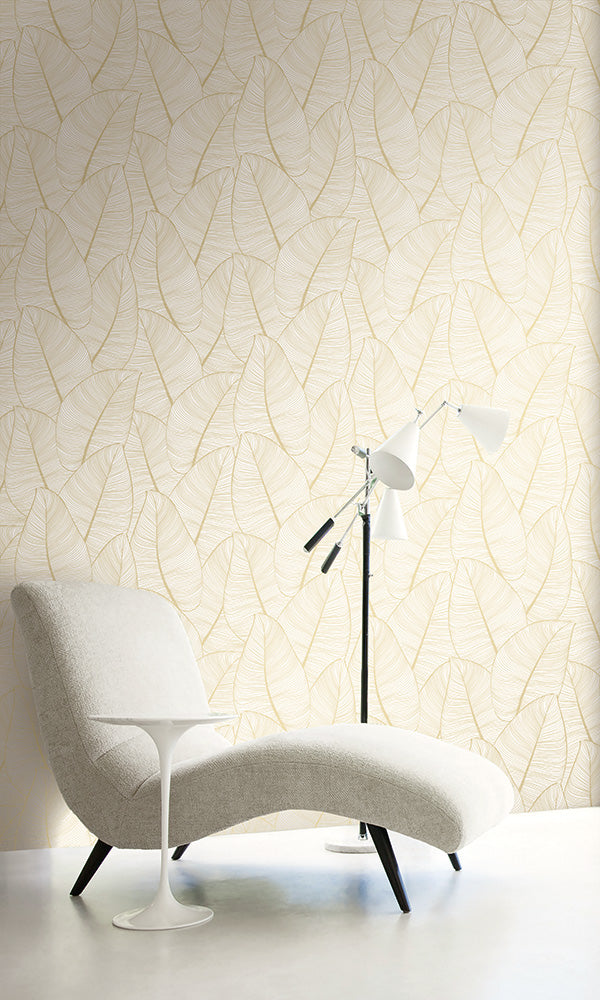 lined leaf outline wallpaper