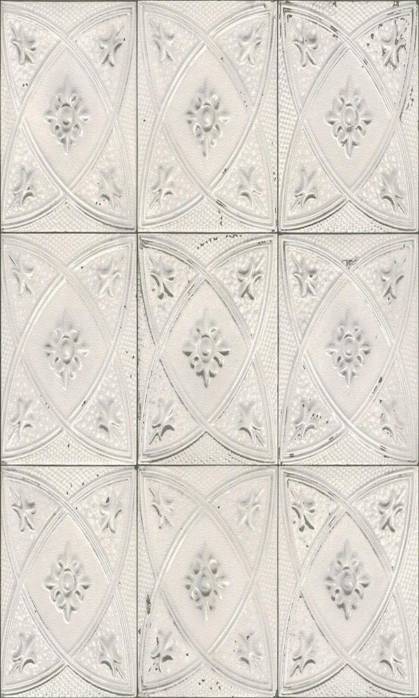 Ceramic Floral Tiles Wallpaper White and Grey R4673