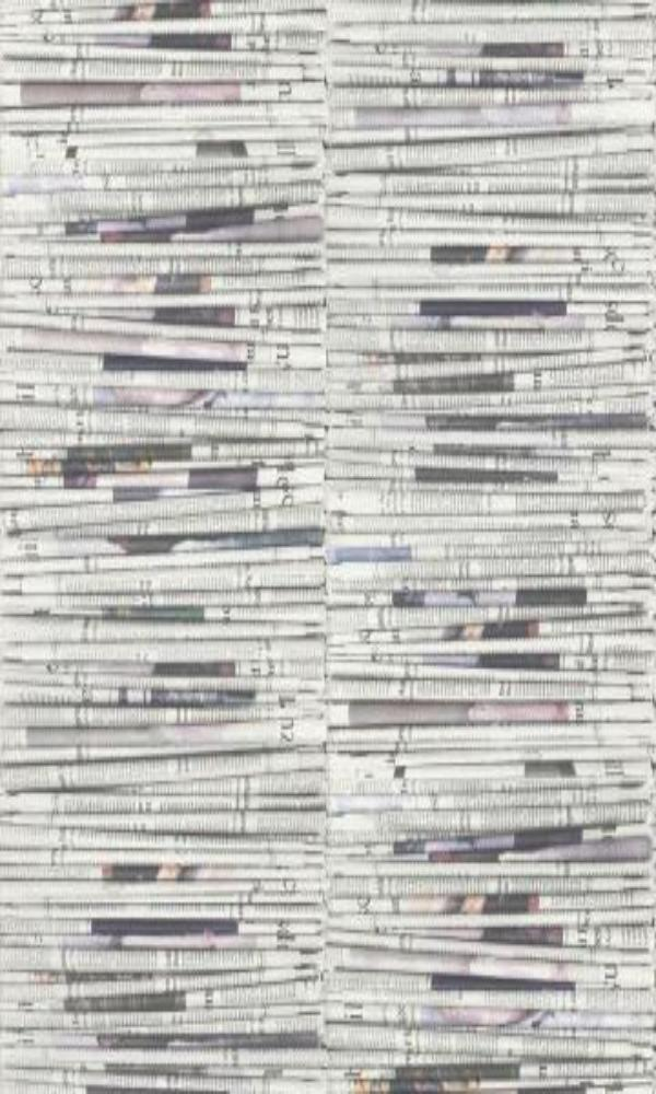 Newspaper Stacks Contemporary Wallpaper White and Grey R4674