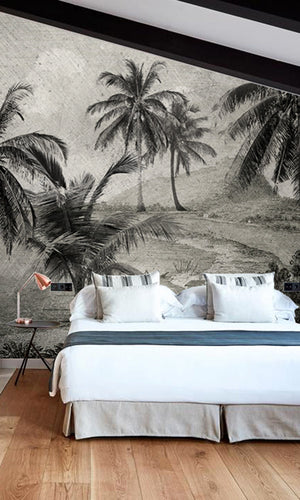 vintage tropical landscape wallpaper