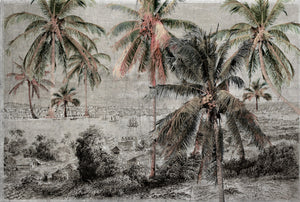 Vintage Tropical Illustration 4 Mural Wallpaper M9624