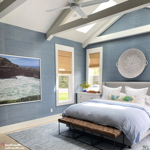 Blue Ramie Majestic Grasscloth Wallpaper R1993