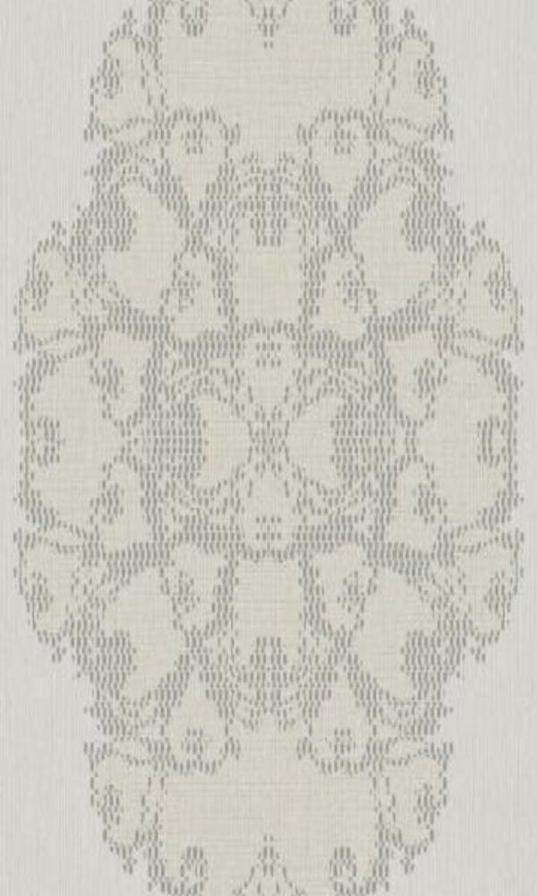 Classic Ornamental Geometric Luxury Silver Pixelated Medallion Wallpaper R3787