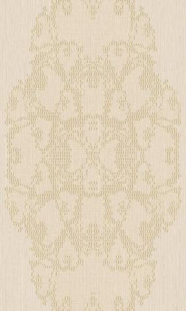 Classic Ornamental Geometric Luxury Beige Pixelated Medallion Wallpaper R3788