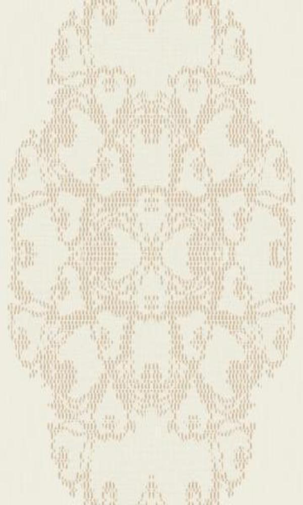 Classic Ornamental Geometric Luxury Light Gold Pixelated Medallion Wallpaper R3789