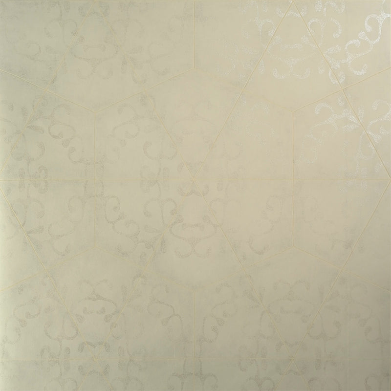 Luxury Elegant Cream Octagonal Metallic Tiled Wallpaper R3792